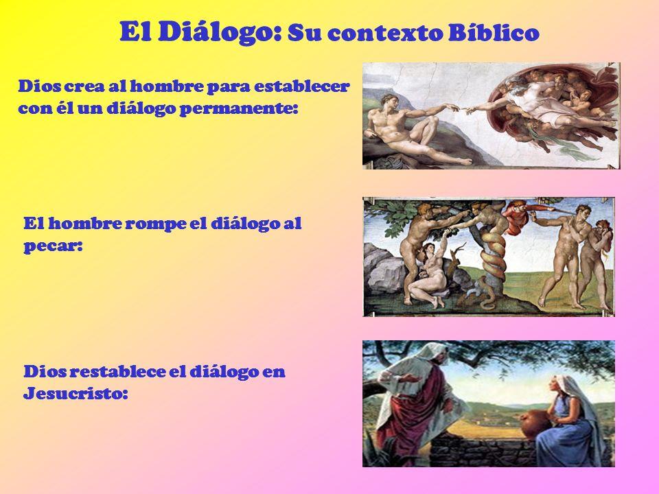 El Diálogo: Su contexto Bíblico Dios crea al hombre para establecer con él un diálogo permanente: El hombre rompe el diálogo al pecar: Dios restablece