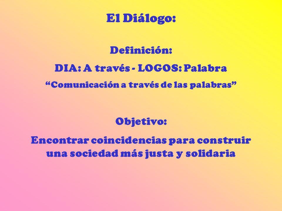 El Diálogo: Definición: DIA: A través - LOGOS: Palabra Comunicación a través de las palabras Objetivo: Encontrar coincidencias para construir una soci