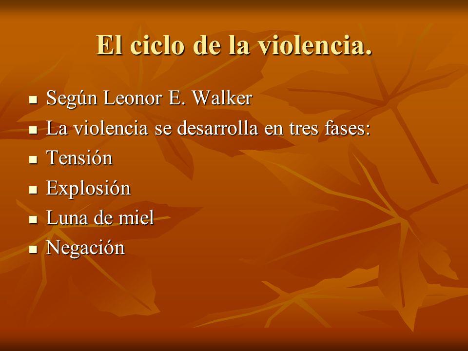 El ciclo de la violencia. Según Leonor E. Walker Según Leonor E. Walker La violencia se desarrolla en tres fases: La violencia se desarrolla en tres f