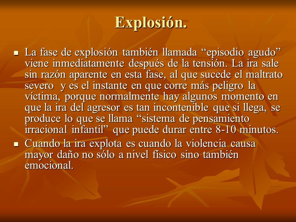 Explosión. La fase de explosión también llamada episodio agudo viene inmediatamente después de la tensión. La ira sale sin razón aparente en esta fase