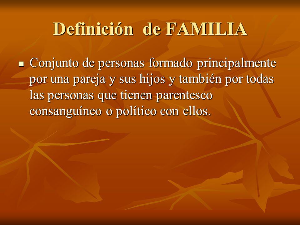Definición de FAMILIA Conjunto de personas formado principalmente por una pareja y sus hijos y también por todas las personas que tienen parentesco co