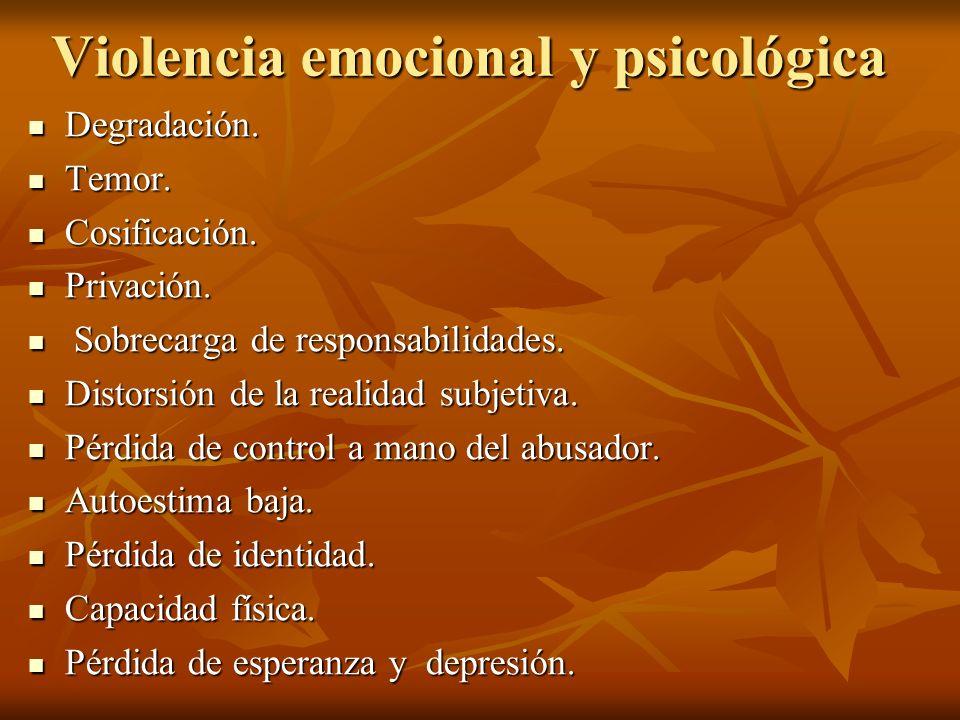Violencia emocional y psicológica Degradación. Degradación. Temor. Temor. Cosificación. Cosificación. Privación. Privación. Sobrecarga de responsabili