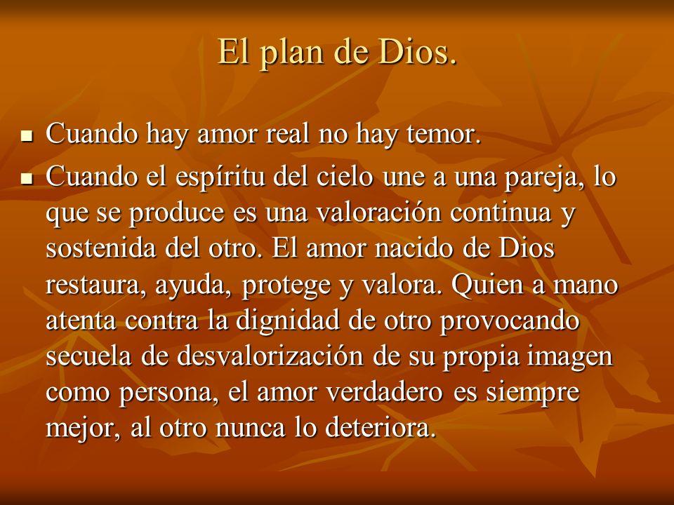 El plan de Dios. Cuando hay amor real no hay temor. Cuando hay amor real no hay temor. Cuando el espíritu del cielo une a una pareja, lo que se produc