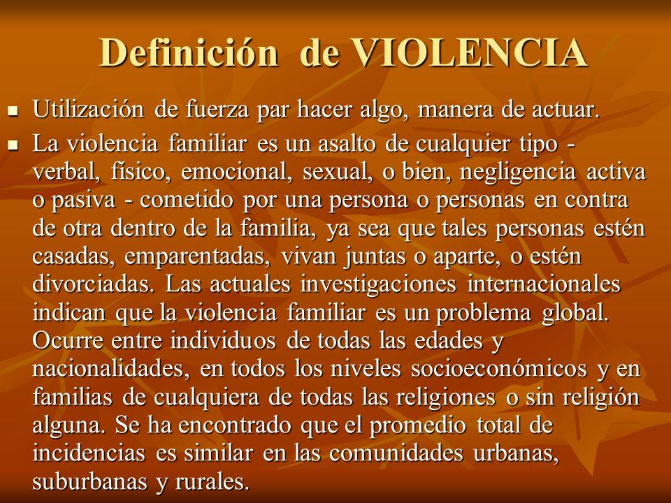 Definición de VIOLENCIA Utilización de fuerza par hacer algo, manera de actuar. Utilización de fuerza par hacer algo, manera de actuar. La violencia f