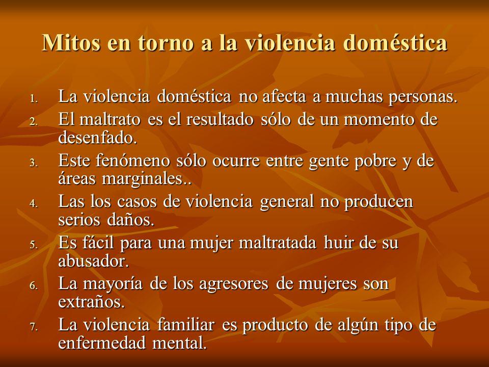 Mitos en torno a la violencia doméstica 1. La violencia doméstica no afecta a muchas personas. 2. El maltrato es el resultado sólo de un momento de de