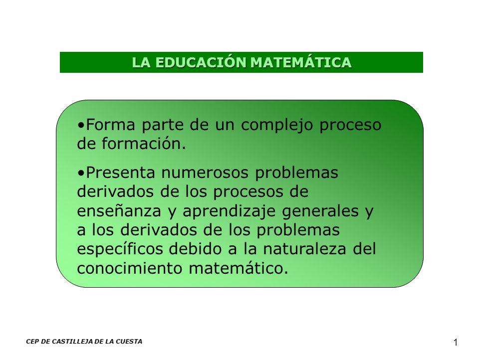 CEP DE CASTILLEJA DE LA CUESTA 1 LA EDUCACIÓN MATEMÁTICA Forma parte de un complejo proceso de formación. Presenta numerosos problemas derivados de lo