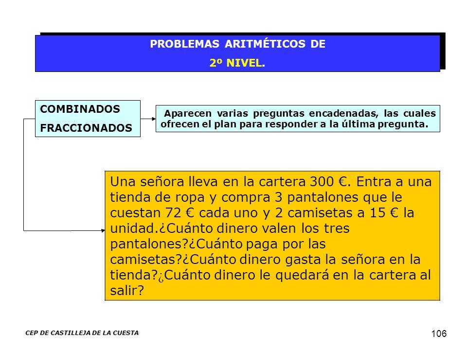 CEP DE CASTILLEJA DE LA CUESTA 106 PROBLEMAS ARITMÉTICOS DE 2º NIVEL. PROBLEMAS ARITMÉTICOS DE 2º NIVEL. Aparecen varias preguntas encadenadas, las cu