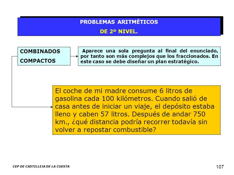 CEP DE CASTILLEJA DE LA CUESTA 107 PROBLEMAS ARITMÉTICOS DE 2º NIVEL. PROBLEMAS ARITMÉTICOS DE 2º NIVEL. Aparece una sola pregunta al final del enunci