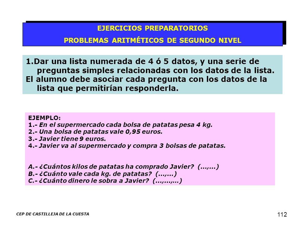 CEP DE CASTILLEJA DE LA CUESTA 112 EJERCICIOS PREPARATORIOS PROBLEMAS ARITMÉTICOS DE SEGUNDO NIVEL EJERCICIOS PREPARATORIOS PROBLEMAS ARITMÉTICOS DE S