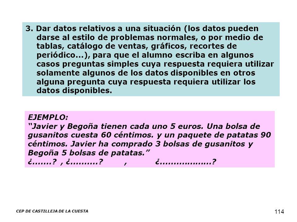 CEP DE CASTILLEJA DE LA CUESTA 114 EJEMPLO: Javier y Begoña tienen cada uno 5 euros. Una bolsa de gusanitos cuesta 60 céntimos. y un paquete de patata