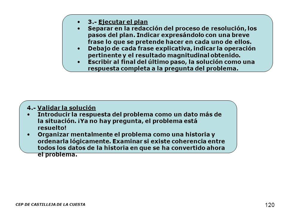 CEP DE CASTILLEJA DE LA CUESTA 120 3.- Ejecutar el plan Separar en la redacción del proceso de resolución, los pasos del plan. Indicar expresándolo co