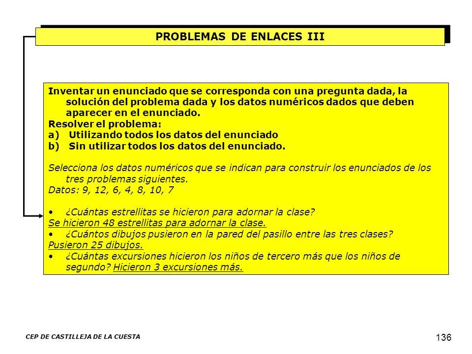 CEP DE CASTILLEJA DE LA CUESTA 136 PROBLEMAS DE ENLACES III Inventar un enunciado que se corresponda con una pregunta dada, la solución del problema d