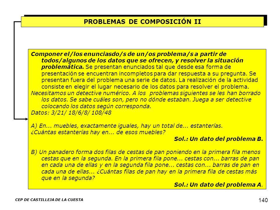 CEP DE CASTILLEJA DE LA CUESTA 140 PROBLEMAS DE COMPOSICIÓN II Componer el/los enunciasdo/s de un/os problema/s a partir de todos/algunos de los datos