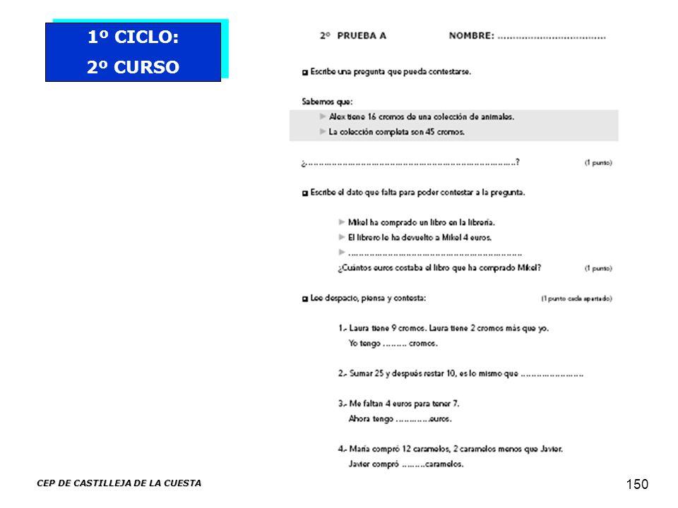 CEP DE CASTILLEJA DE LA CUESTA 150 1º CICLO: 2º CURSO 1º CICLO: 2º CURSO