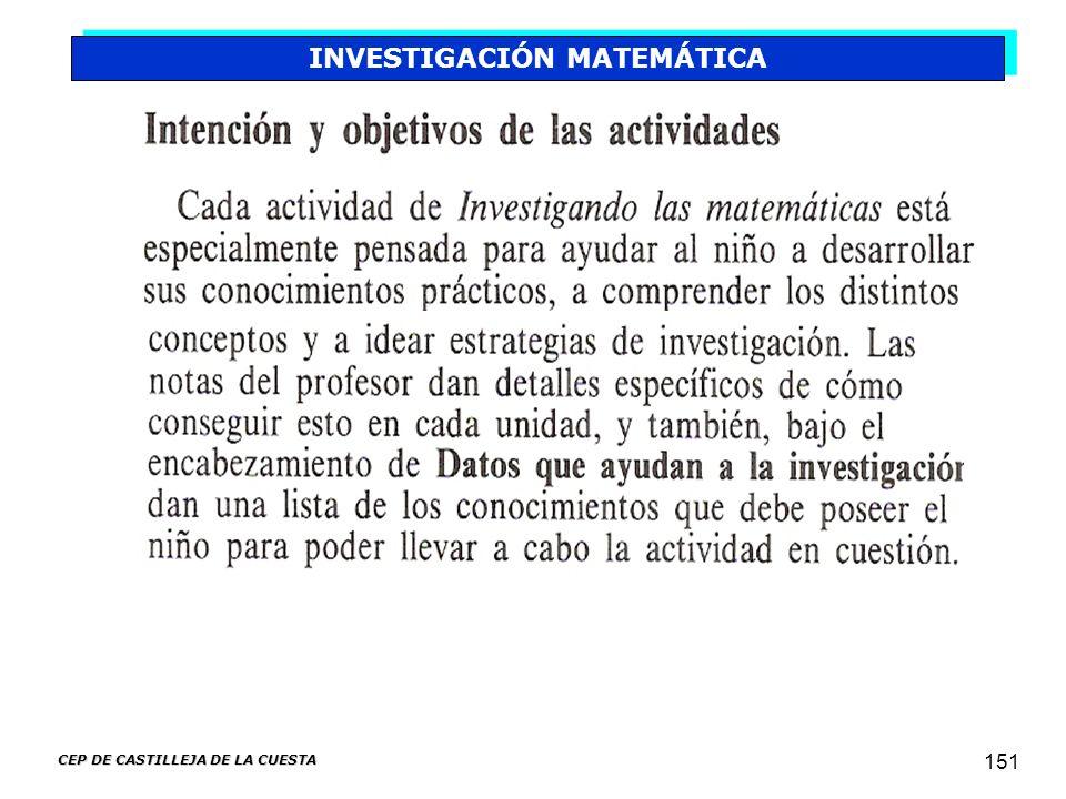 CEP DE CASTILLEJA DE LA CUESTA 151 INVESTIGACIÓN MATEMÁTICA