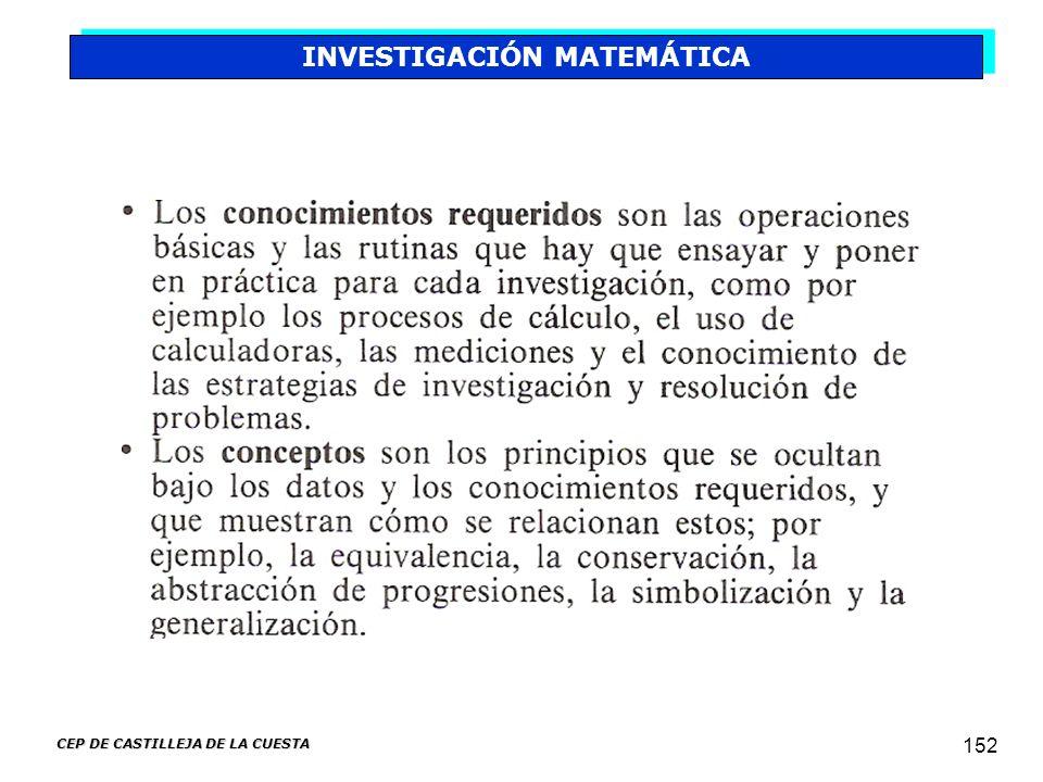 CEP DE CASTILLEJA DE LA CUESTA 152 INVESTIGACIÓN MATEMÁTICA