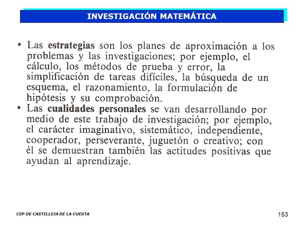 CEP DE CASTILLEJA DE LA CUESTA 153 INVESTIGACIÓN MATEMÁTICA