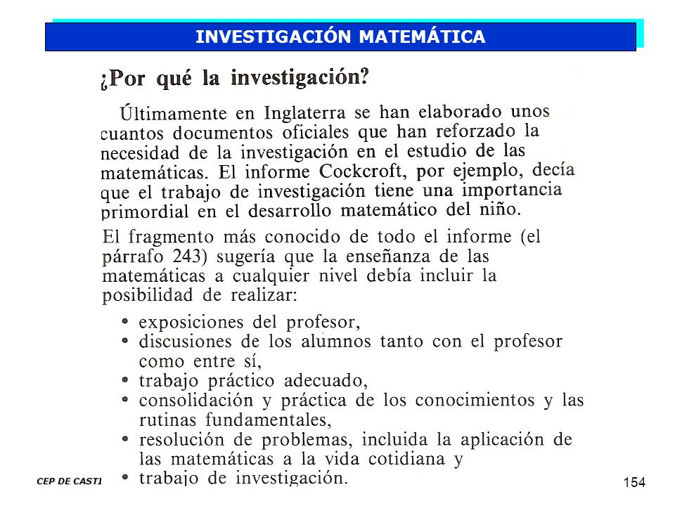 CEP DE CASTILLEJA DE LA CUESTA 154 INVESTIGACIÓN MATEMÁTICA
