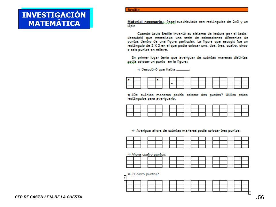 CEP DE CASTILLEJA DE LA CUESTA 156 INVESTIGACIÓN MATEMÁTICA
