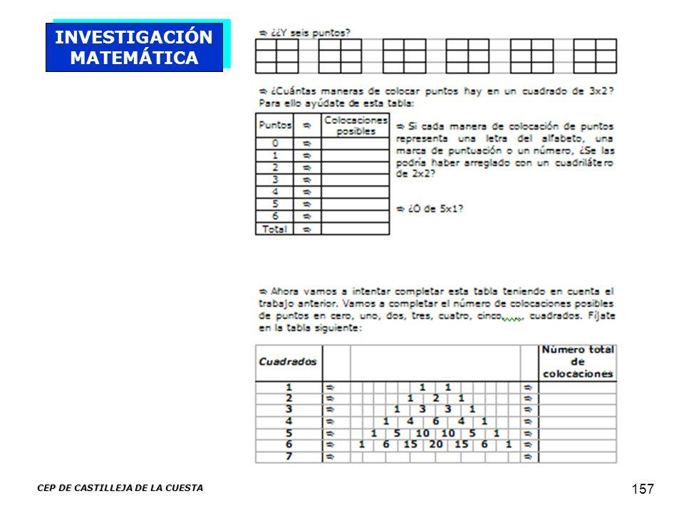 CEP DE CASTILLEJA DE LA CUESTA 157 INVESTIGACIÓN MATEMÁTICA