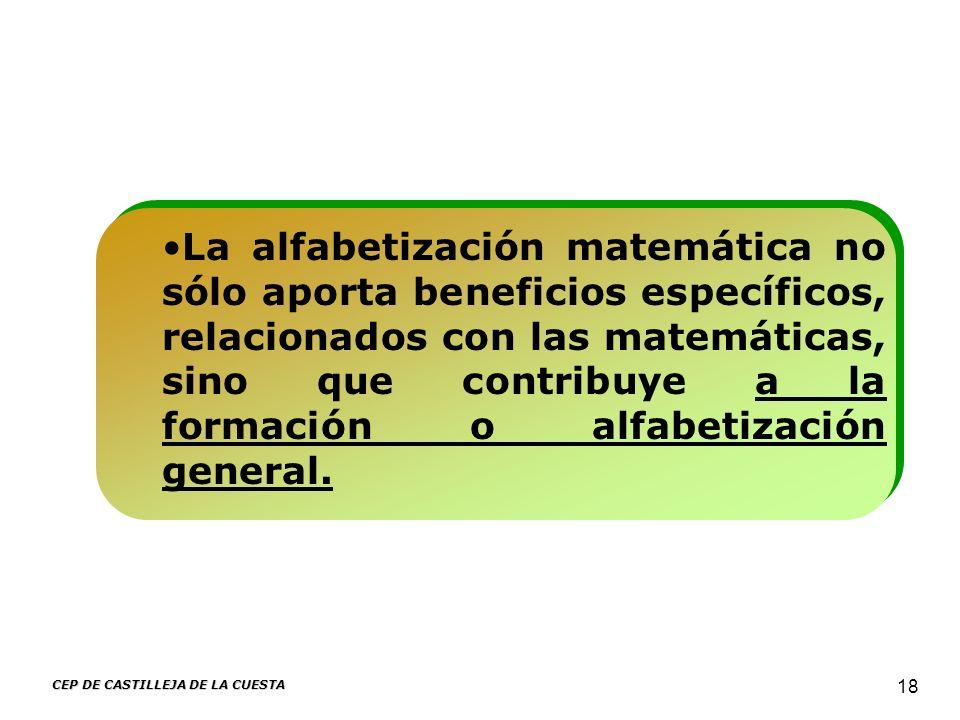 CEP DE CASTILLEJA DE LA CUESTA 18 La alfabetización matemática no sólo aporta beneficios específicos, relacionados con las matemáticas, sino que contr