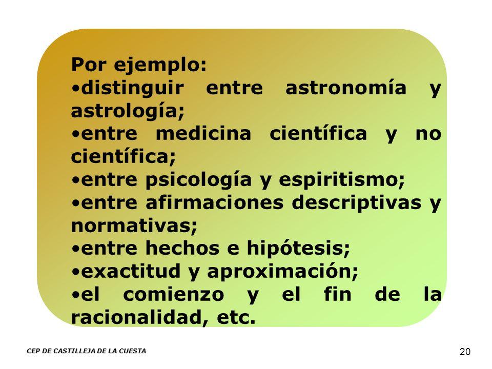 CEP DE CASTILLEJA DE LA CUESTA 20 Por ejemplo: distinguir entre astronomía y astrología; entre medicina científica y no científica; entre psicología y