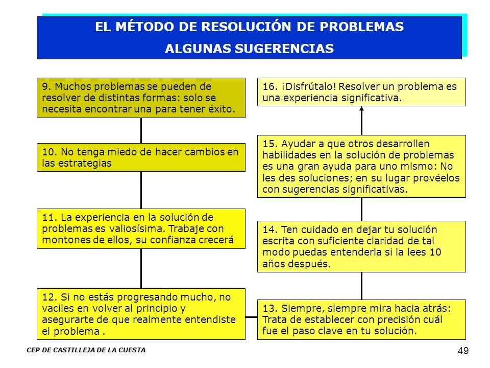 CEP DE CASTILLEJA DE LA CUESTA 49 EL MÉTODO DE RESOLUCIÓN DE PROBLEMAS ALGUNAS SUGERENCIAS EL MÉTODO DE RESOLUCIÓN DE PROBLEMAS ALGUNAS SUGERENCIAS 9.