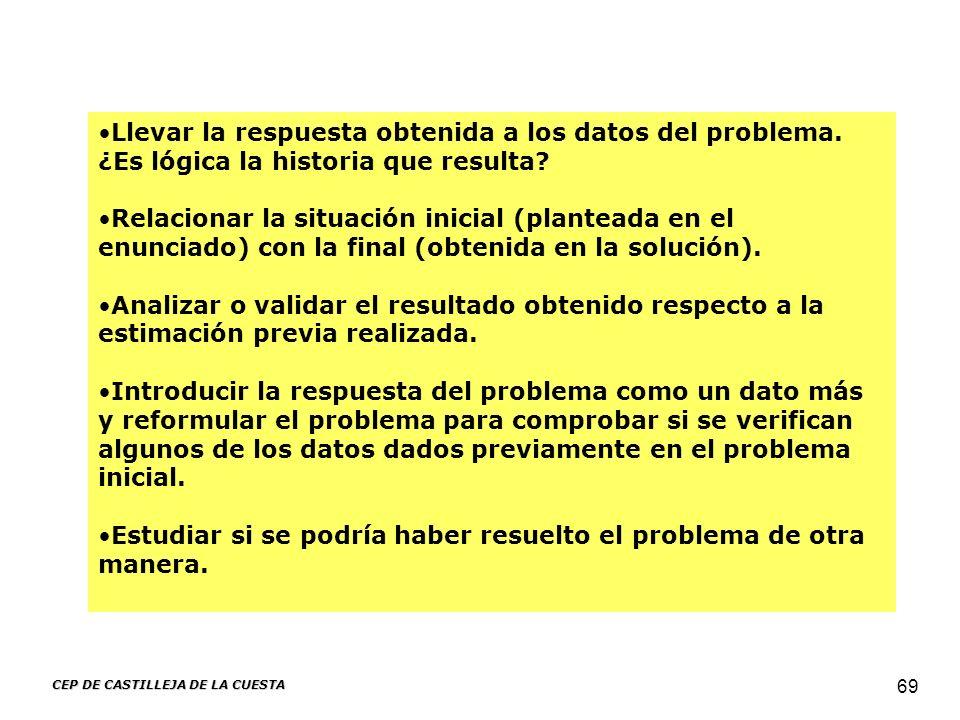 CEP DE CASTILLEJA DE LA CUESTA 69 Llevar la respuesta obtenida a los datos del problema. ¿Es lógica la historia que resulta? Relacionar la situación i
