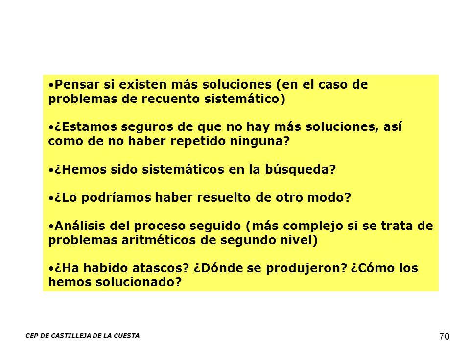CEP DE CASTILLEJA DE LA CUESTA 70 Pensar si existen más soluciones (en el caso de problemas de recuento sistemático) ¿Estamos seguros de que no hay má