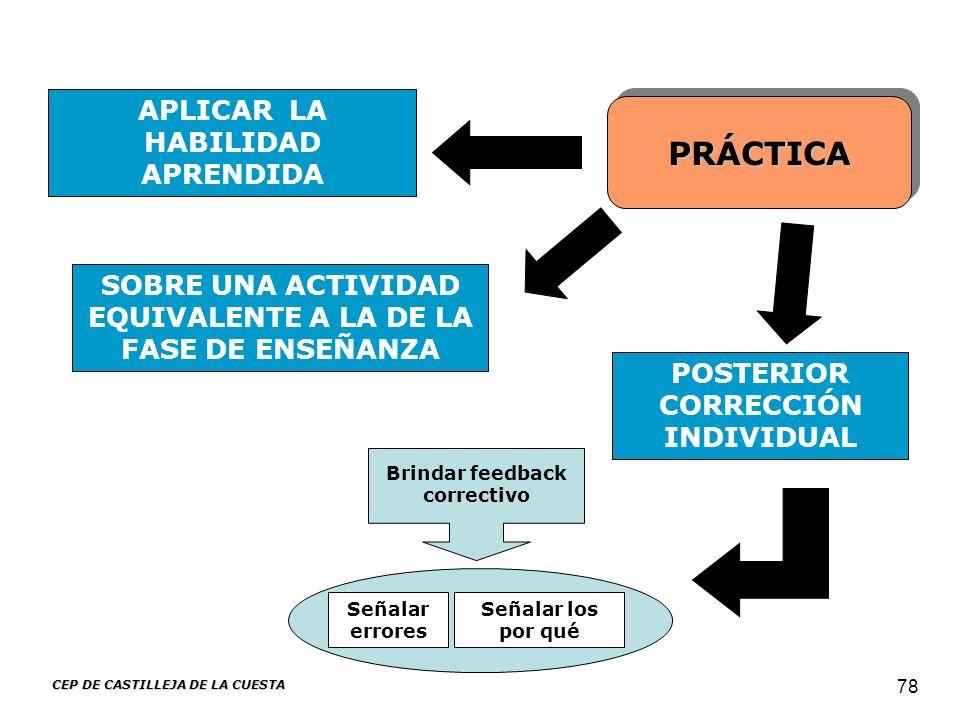 CEP DE CASTILLEJA DE LA CUESTA 78 PRÁCTICA APLICAR LA HABILIDAD APRENDIDA POSTERIOR CORRECCIÓN INDIVIDUAL SOBRE UNA ACTIVIDAD EQUIVALENTE A LA DE LA F