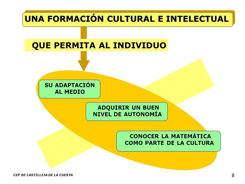 CEP DE CASTILLEJA DE LA CUESTA 8 UNA FORMACIÓN CULTURAL E INTELECTUAL QUE PERMITA AL INDIVIDUO SU ADAPTACIÓN AL MEDIO ADQUIRIR UN BUEN NIVEL DE AUTONO