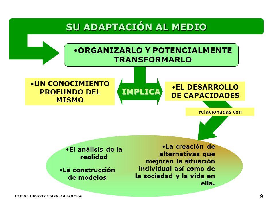 CEP DE CASTILLEJA DE LA CUESTA 9 El análisis de la realidad La creación de alternativas que mejoren la situación individual así como de la sociedad y