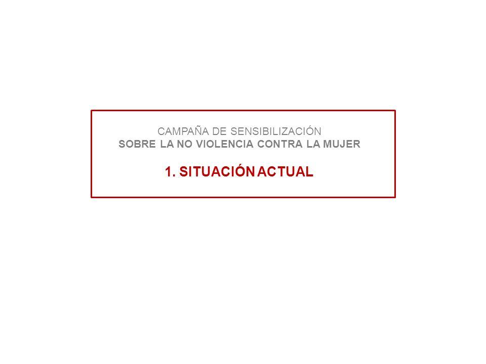 CAMPAÑA DE SENSIBILIZACIÓN SOBRE LA NO VIOLENCIA CONTRA LA MUJER 1. SITUACIÓN ACTUAL