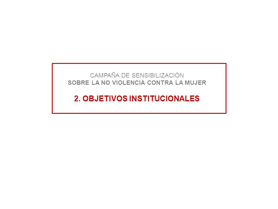 CAMPAÑA DE SENSIBILIZACIÓN SOBRE LA NO VIOLENCIA CONTRA LA MUJER 2. OBJETIVOS INSTITUCIONALES