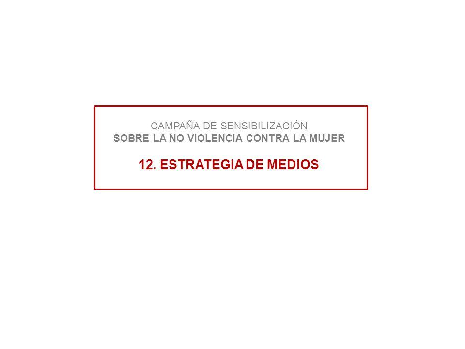 CAMPAÑA DE SENSIBILIZACIÓN SOBRE LA NO VIOLENCIA CONTRA LA MUJER 12. ESTRATEGIA DE MEDIOS