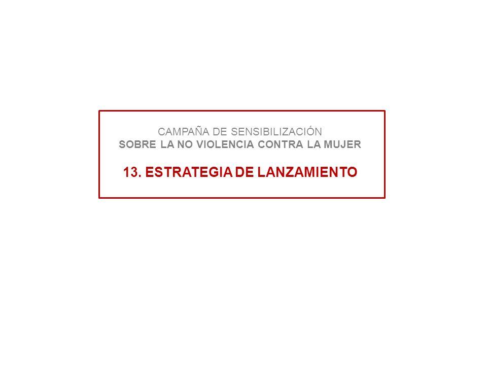 CAMPAÑA DE SENSIBILIZACIÓN SOBRE LA NO VIOLENCIA CONTRA LA MUJER 13. ESTRATEGIA DE LANZAMIENTO