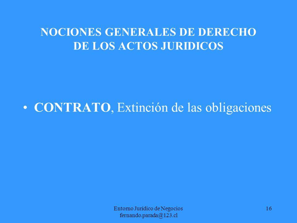 Entorno Jurídico de Negocios fernando.parada@123.cl 17 NOCIONES GENERALES DE DERECHO DE LOS ACTOS JURIDICOS CONTRATO, Extinción de las obligaciones -PAGO Es la prestación de lo que se debe.