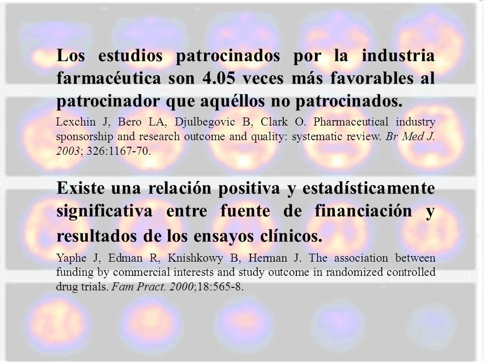Los estudios patrocinados por la industria farmacéutica son 4.05 veces más favorables al patrocinador que aquéllos no patrocinados. Lexchin J, Bero LA