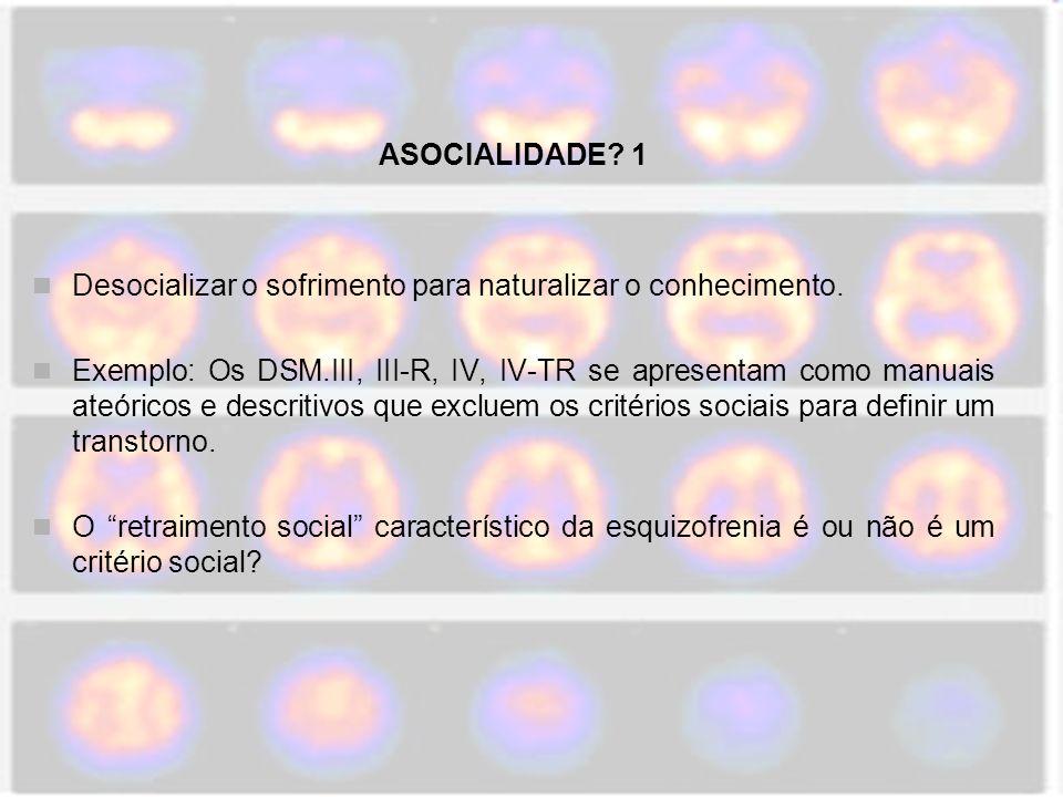 ASOCIALIDADE.2 Os critérios do transtorno anti-social da personalidade são ou não são sociais.