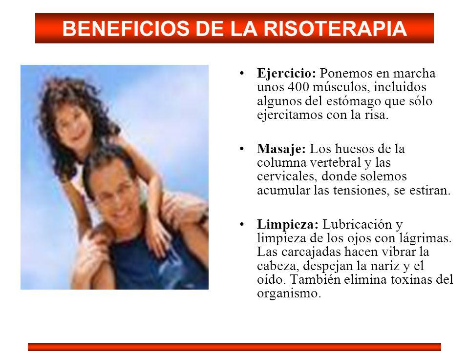 BENEFICIOS DE LA RISOTERAPIA Ejercicio: Ponemos en marcha unos 400 músculos, incluidos algunos del estómago que sólo ejercitamos con la risa. Masaje: