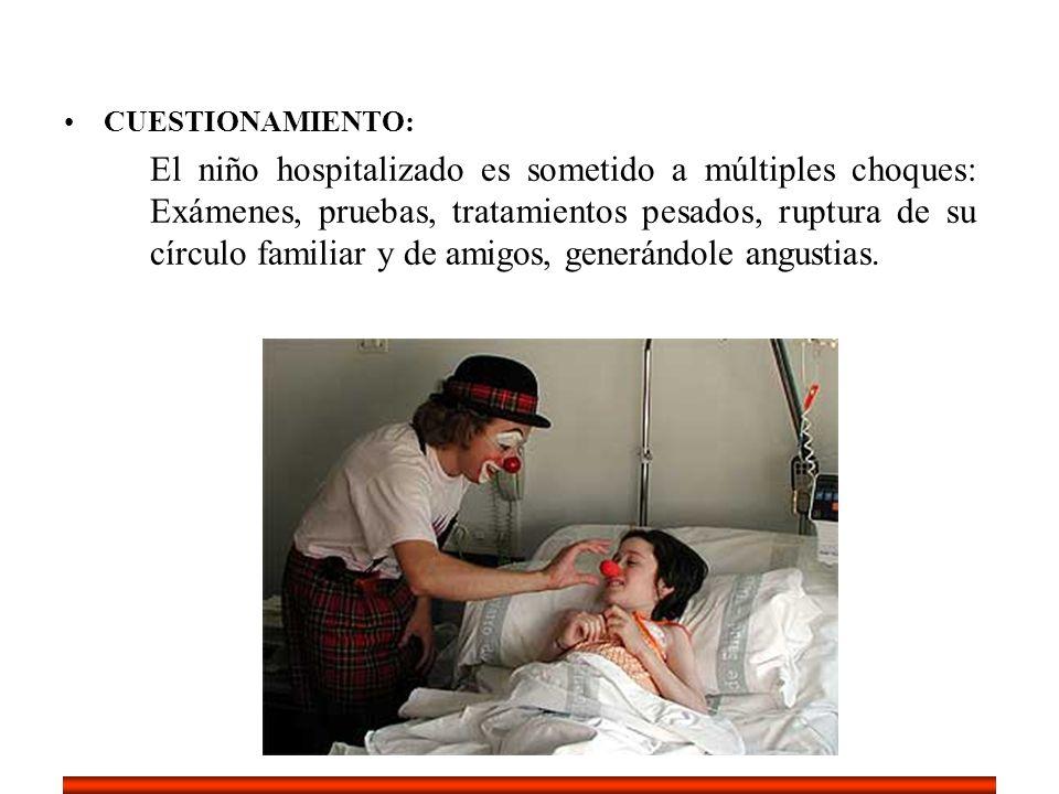CUESTIONAMIENTO: El niño hospitalizado es sometido a múltiples choques: Exámenes, pruebas, tratamientos pesados, ruptura de su círculo familiar y de a