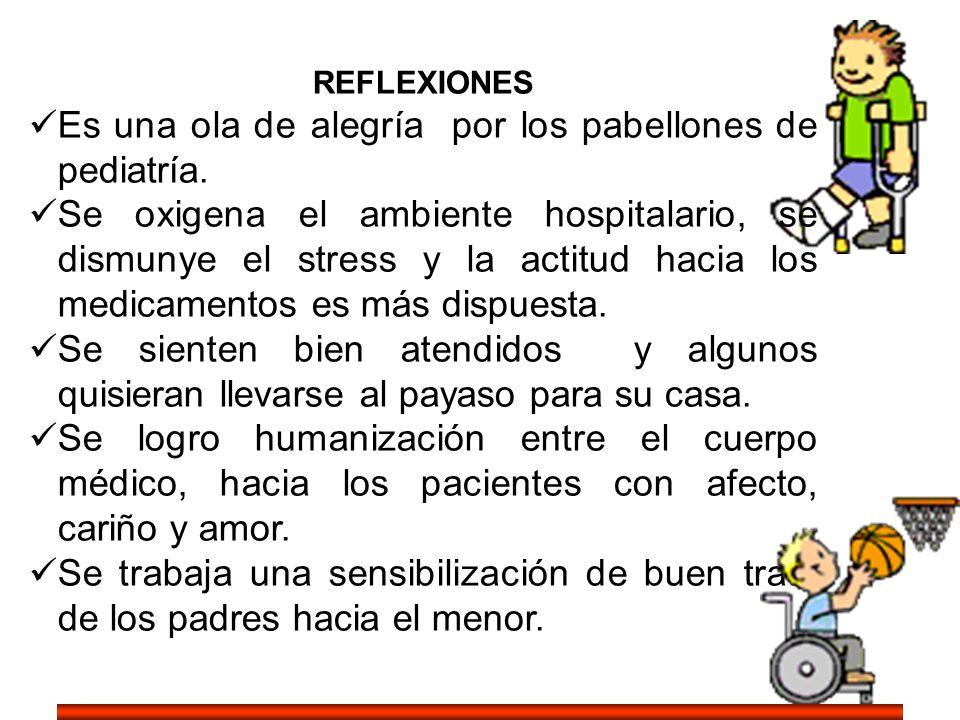 REFLEXIONES Es una ola de alegría por los pabellones de pediatría. Se oxigena el ambiente hospitalario, se dismunye el stress y la actitud hacia los m