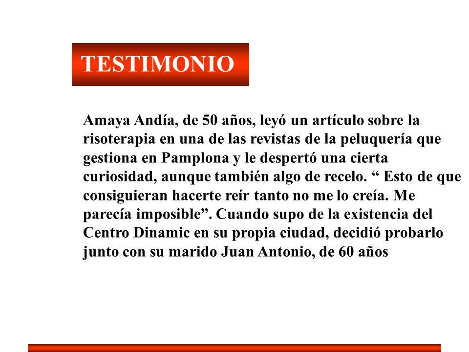 TESTIMONIO Amaya Andía, de 50 años, leyó un artículo sobre la risoterapia en una de las revistas de la peluquería que gestiona en Pamplona y le desper