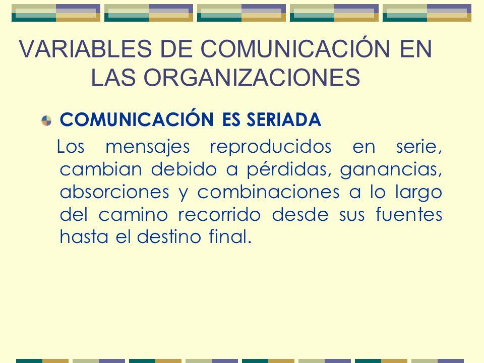 VARIABLES DE COMUNICACIÓN EN LAS ORGANIZACIONES COMUNICACIÓN ES PERSONAL Jamás dos personas son iguales. Debido a estas diferencias ambientales y psic
