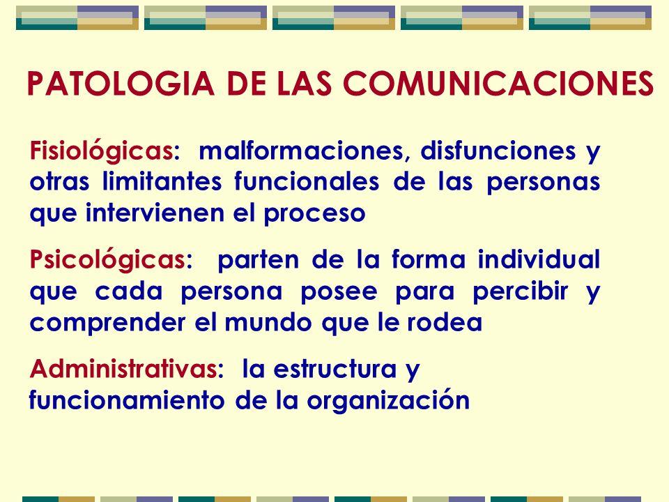 PATOLOGIA DE LAS COMUNICACIONES Semánticas: cuando su origen radica en problemas de sentido, significación, acepciones del lenguaje y de los símbolos