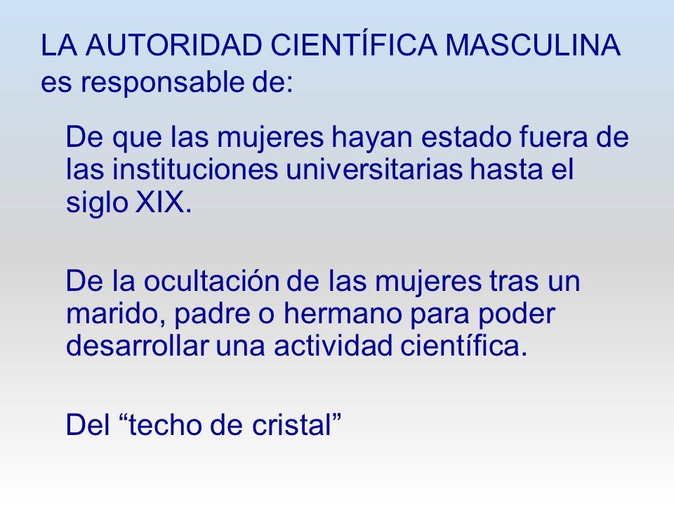 LA AUTORIDAD CIENTÍFICA MASCULINA es responsable de: De que las mujeres hayan estado fuera de las instituciones universitarias hasta el siglo XIX. De