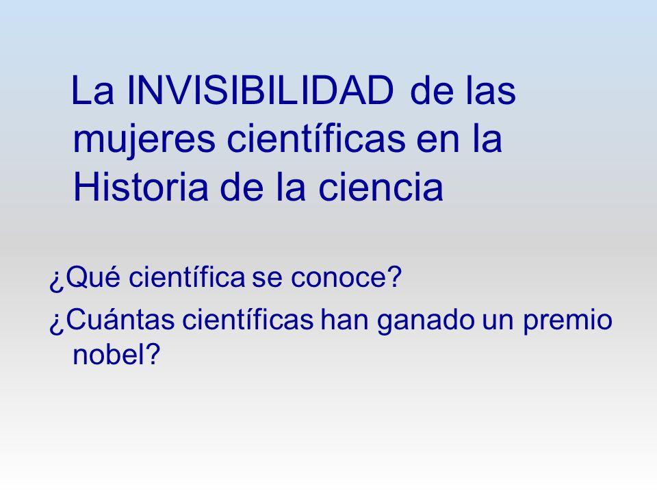 La INVISIBILIDAD de las mujeres científicas en la Historia de la ciencia ¿Qué científica se conoce? ¿Cuántas científicas han ganado un premio nobel?