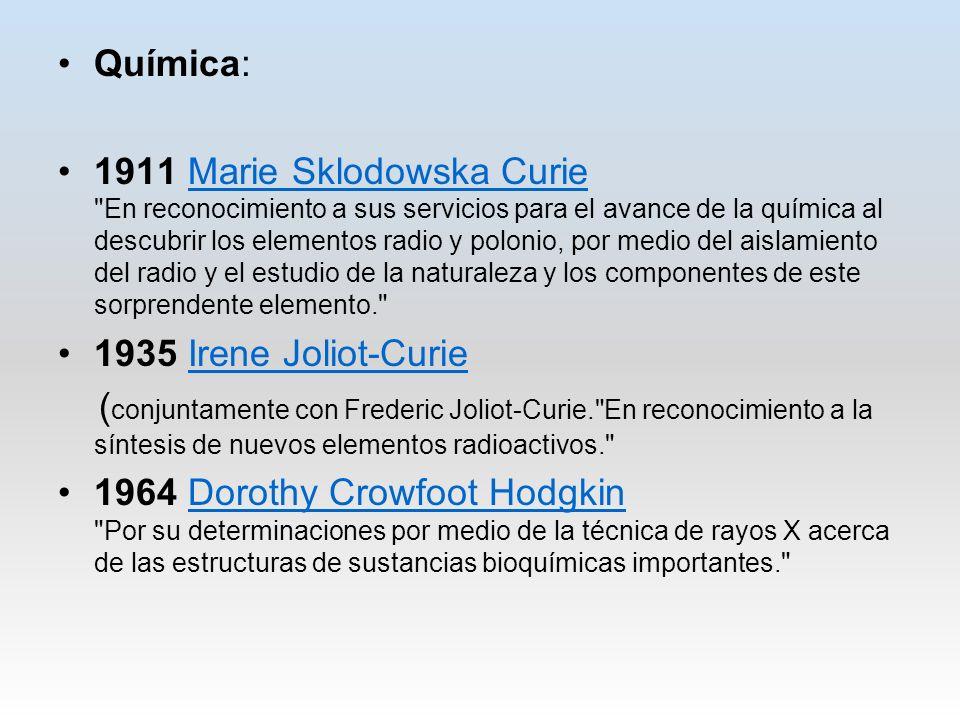Química: 1911 Marie Sklodowska Curie