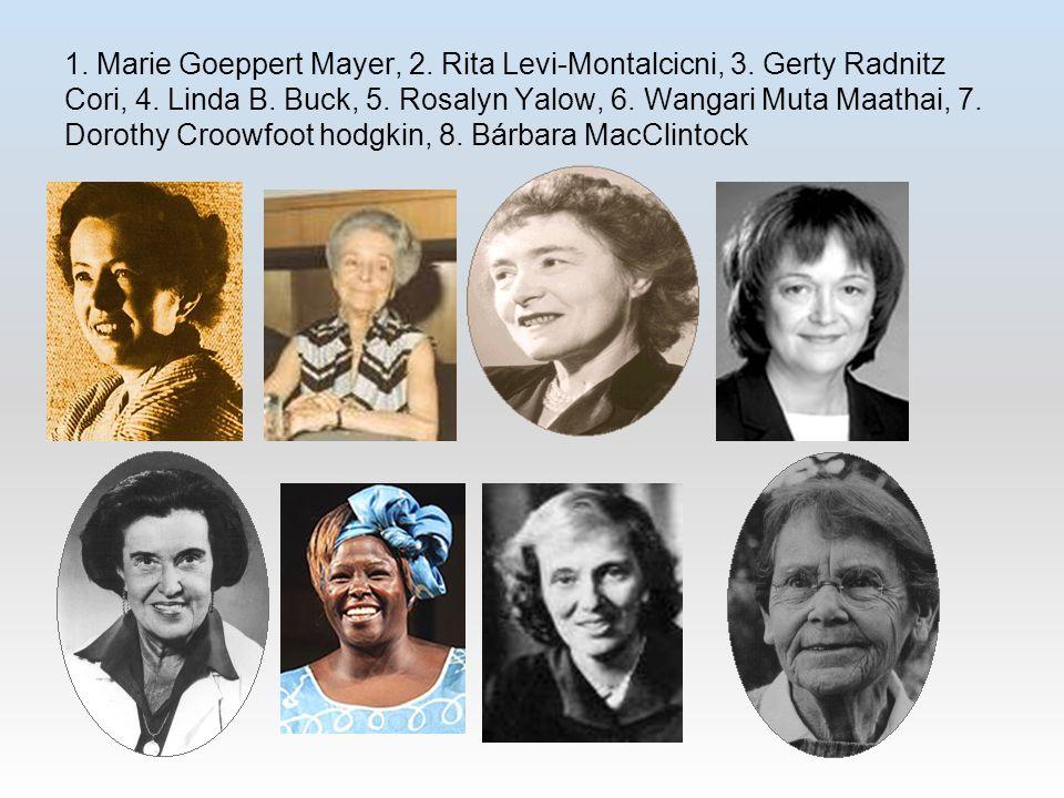 1. Marie Goeppert Mayer, 2. Rita Levi-Montalcicni, 3. Gerty Radnitz Cori, 4. Linda B. Buck, 5. Rosalyn Yalow, 6. Wangari Muta Maathai, 7. Dorothy Croo
