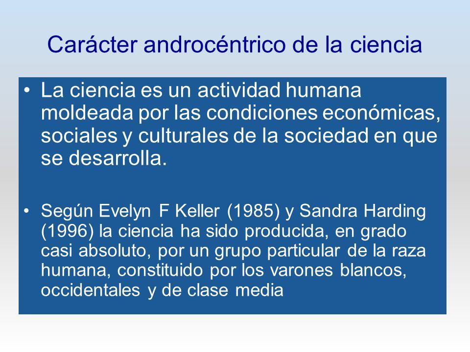 Carácter androcéntrico de la ciencia La ciencia es un actividad humana moldeada por las condiciones económicas, sociales y culturales de la sociedad e